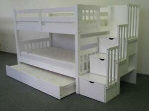 LOWEST PRICE ON BUNK BEDS IN TOWN!! SOLID BUNK BEDS STARTING FROM 399$ ONLY.WHITE,ESPRESSO COLORS AVAILABLE,PAY AND PICK
