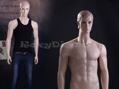 Male Fiberglass Realistic Mannequin With Molded Hair Dress From Display Mz-wen7