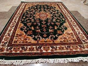 Wow Dark Green Floral Medallion Rectangle Area Rug Hand Knotted Wool Silk Carpet (5 x 3)'