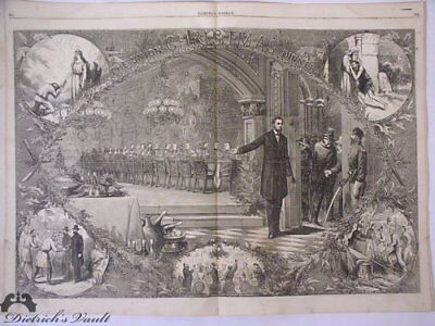 Abraham Lincoln Union Christmas Dinner Centerfold Harper's Weekly 1864