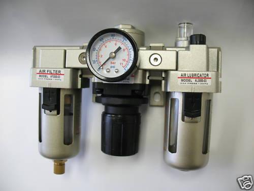 "1pc 3/8""NPT Air Filter Regulator Lubricator Combo 2000L/min MettleAir AC3000-N03"