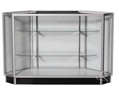 - CA SALE! All Glass Extra Vision Corner Showcase Display Knocked Down #KDCU