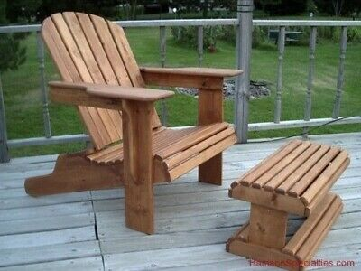 ADIRONDACK 3-PC Outdoor Patio Lawn Chair Ottoman Furniture Wood Plans Plan