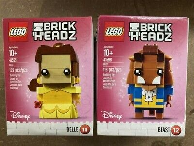 LEGO Brick Headz Belle #41595 and the Beast #41596 Disney Figure, New In Boxes