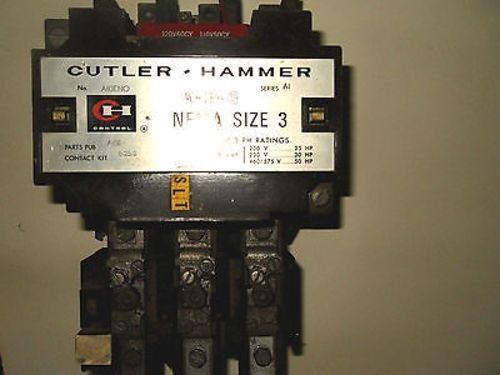 (Q1-1) 1 CUTLER HAMMER A10ENO STARTER 90AMP SIZE3 3POLE W/OVERLOAD BLOCK