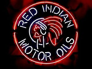 RED INDIAN MOTOR OIL Neon Sign Mancave gas gasoline tin can