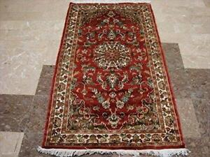 Exclusive Kasha Medallion Flowers Area Rug Hand Knotted Wool Silk Carpet (5 x 3)'