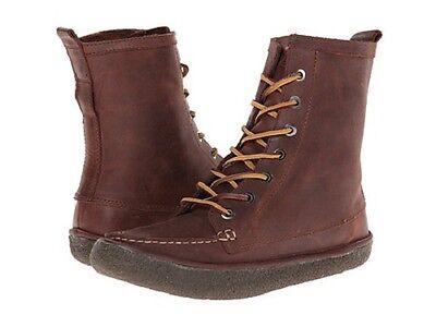 Ziehen Leder Stiefel (Seavees Damen 02/60 7 Eye Trail Komfort Stiefel Hellbraun Hochziehen Leder Sz 5)