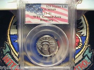 Click now to see the BUY IT NOW Price! 2001 PCGS MS 69 $25 WORLD TRADE CENTER RECOVERY AMERICAN PLATINUM EAGLE 1 OF 52