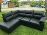 Black or cream real leather sofa
