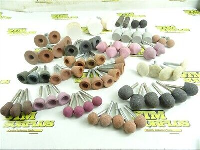 "72 NEW! ABRASIVE MOUNTED POINTS- ASSORTED SHAPES 1/4"" SHANKS WHEEL TAPERED EDGE+"