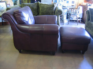Bombay Co leather 2 Chairs and ottoman (3 pieces) Burlington