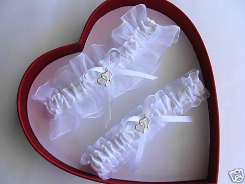 DOUBLE HEART Wedding Garters WHITE / WHITE  Garter