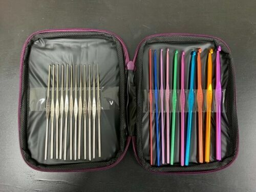 Aluminum Crochet Hooks Needles Knit 22 Pcs Set Multi Color Weave Craft Yarn Crafts