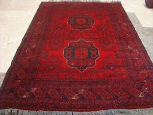 Afghan Khal Muhamadi Exclusive Designed Rectangle Area Rug Fine Hand Knotted Wool Carpet (4.10 x 3.5)'