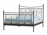 IKEA EUROPEAN DOUBLE SIZE NORESUND BLACK METAL BED FRAME