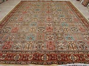 Wow Bakhtiari Floral Blocks Rectangle Area Rug Hand Knotted Wool Silk Carpet (10 X 7)'