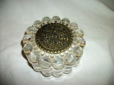 Antique Art Deco Bullet Glass Mirror Filigree Powder Jar Chic Paris Apt Shabby