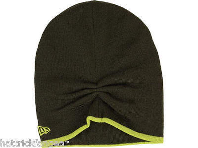 New Era Two Tone Slouch Knit Winter Hat/Beanie/Toque Olive Drab/Lime Green