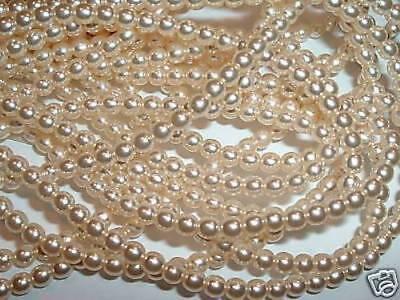 AL821 CZECH 4mm ROUND Faux Glass PEARL Beads-VANILLA CREME (110) Czech Glass Faux Pearls Beads