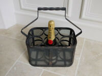 Metal Basket Bottle Holder & Handle