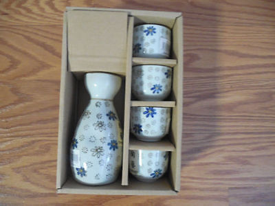 Royal 5 Piece Ceramic with gold and blue flowers Japanese Sake Set, China made!