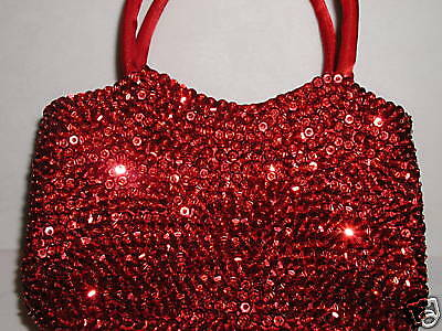 RED SEQUIN EVENING BAG PURSE HAT SOCIETY WEDDING PROM -