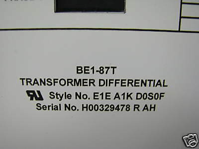 BE1-87TE1EA1KD0S0F   Basler Electric Transformer Diff.