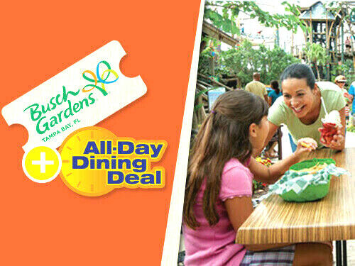 BUSCH GARDENS TAMPA TICKET & ALL DAY DINE SAVINGS PROMO DISCOUNT INFO TOOL