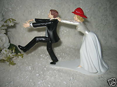 Firefighter Cake Topper (Wedding Party Reception ~Firewoman Firefighter~ Cake Topper Running Groom)