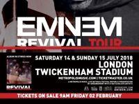 2x Eminem seated Twickenham tickets 14/07/18