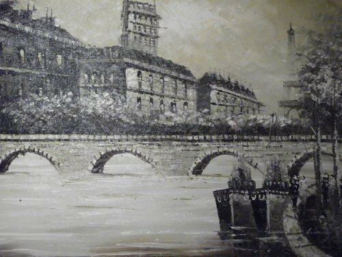 sepia+old+Paris+street+large+oil+painting+canvas+cityscape+French+original+art
