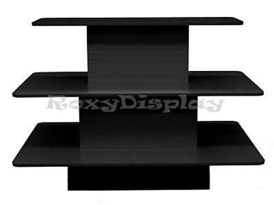 Rectangular 3 Tier Display Table Black Color Clothes Racks Stands Rk-3tier60bk