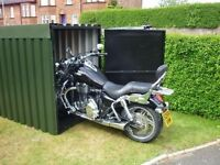 secure steel motorcycle shed