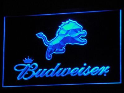 Detroit Lions Neon Blue Led Sign Light Budweiser No Drop Shipping Fast Ship USA Detroit Lions Neon Sign
