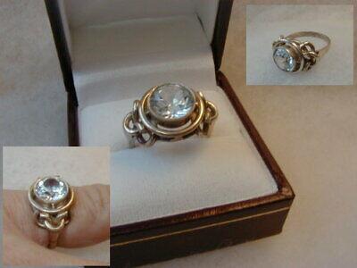 Art Deco Silberring mit rundem Topas 835 Silber um 1930 handmontiert Größe 55