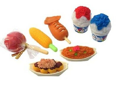 IWAKO Pencil Eraser - Japanese Festival Food 7pc Set Blister Pack - Food Erasers