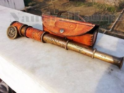 Brass Telescope Antique Spyglass Leather Engraving Scope Pirate Vintage New Gift