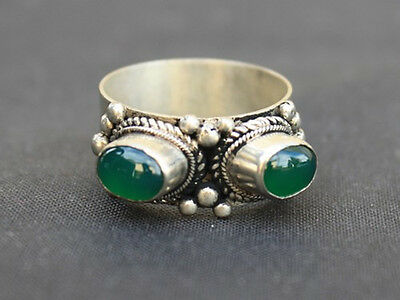 Big Solid Tibetan Silver Plated Two Green Jade Gemstone Dotted Ring Thumb Ring