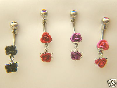 B#181- 8pcs Double Rose Gem Belly Rings Navel Naval