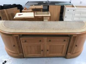 Genuine Clive Christian Semi Circular Kitchen Island with Glass Top and Cabinets