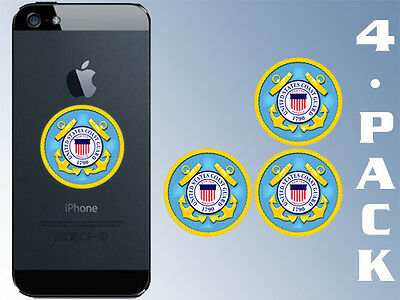 4-Pack 1.5 inch Round COAST GUARD Logo Cell Phone Stickers -seal small case uscg