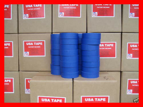 """Lot Of 32 Rolls 1 1/2"""" X 60 Yrds Blue Painters Masking Tape MADE IN USA BLEMS"""