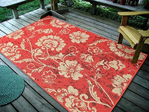"""4'5"""" x 7' Floral Leaves, Sunset Indoor & Outdoor Area Ru"""