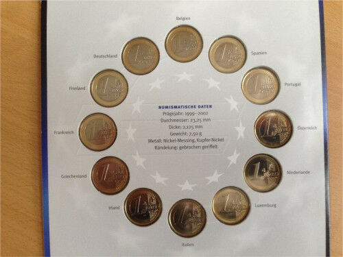 Die 12 Ersten Offiziellen 1 Euro Münzen Der Euro Länder 1999 2002 In