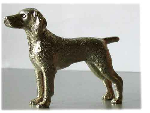 Weimaraner Vizsla Nickel Silver Miniature Figurine Statue Model Figure*