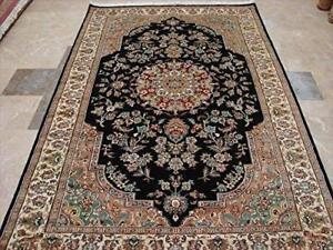 Exclusive Black Beauty Floral Oriental Hand Knotted Rug Wool Silk Carpet (8 x 5)'