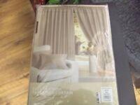 aux silk pencil pleat top lined curtains mink colour inc tie bks 9oin w x 108 long bnip.