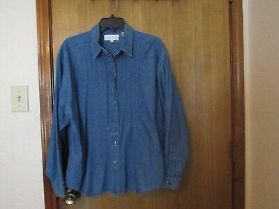 Dillards Drygoods Women Button Down Shirt Jeans Denim Size L Ruffle Blue Solid