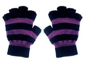 New-Gothic-80s-Goth-Punk-Psychobilly-Purple-Black-Stripe-Mens-Fingerless-Gloves